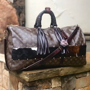 Auth Louis Vuitton Keepall 55 Bandouliere Fringe